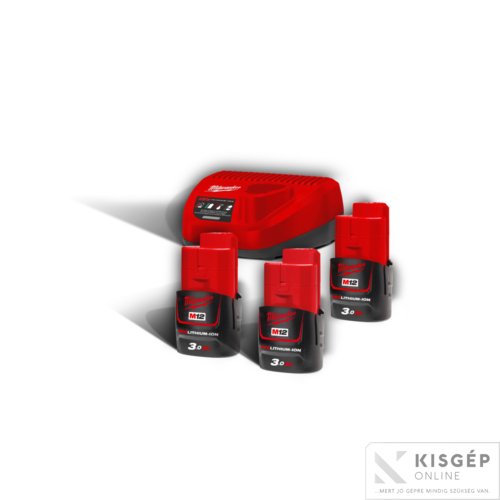 Milwaukee M12NRG-303 M12™ NRG szett (3 x 3,0 Ah akkumulátor és C12 C töltő)