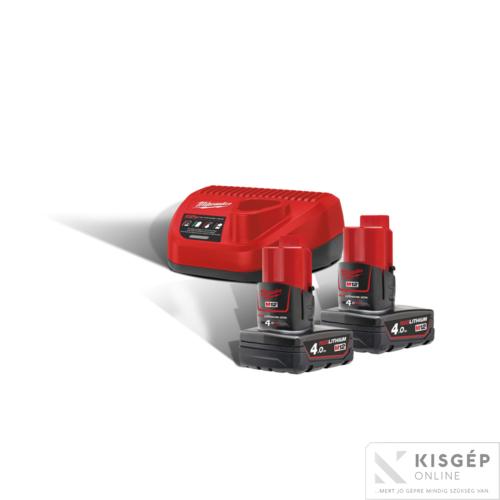 Milwaukee M12NRG-402 M12™ NRG szett (2 x 4,0 Ah akkumulátor és C12 C töltő)